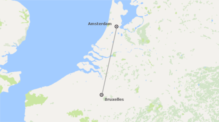 Nord-Ouest Europe: Bruxelles et Amsterdam en avion