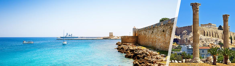 Grèce: Athènes et Rhodes en avion, sur mesure, avec séjour à la plage