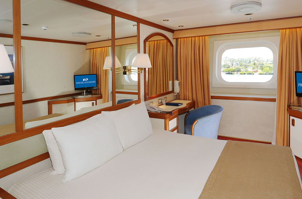 Pont dolphin 8 du bateau dawn princess princess cruises for Exterior vista obstruida